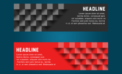web banner with 3d boxes